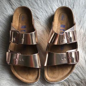 Birkenstock Arizona Copper Metallic Sandals 38